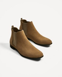 BEIGE LEATHER ANKLE BOOTS WITH ELASTICS