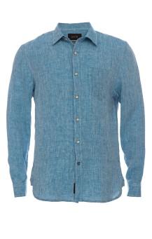 Blue Linen Chambray Shirt