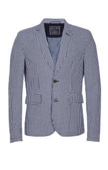 Navy and White Check Seersucker Blazer